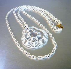 Vintage Trifari Necklace Mod White Enamel Long Chandelier Double Chain Statement Jewelry