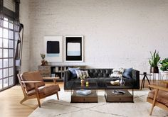 Tufted Couch, Tufted Leather Sofa, Black Leather Sofas, Black Leather Sofa Living Room, Leather Recliner, Black Couches, Living Room Sofa, Black Sofa Living Room Decor, Living Room Designs