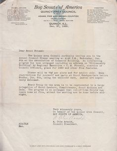 BSA Boy Scouts of America Quincy Area Council Letter 1929 Quincy IL Annual Council Dinner