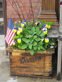Pansies in old wooden box Flower Containers, Container Plants, Container Gardening, Wooden Crate Boxes, Old Crates, Old Fences, Decorating Ideas, Craft Ideas, Pop Bottles