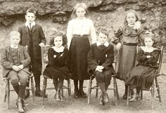 School children in Froncysyllte, circa 1900. Florence James standing far right, others unknown.