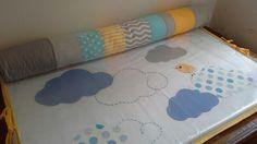 Kit berço patchwork cinza azul e amarelo www.ateliecolorir.com.br