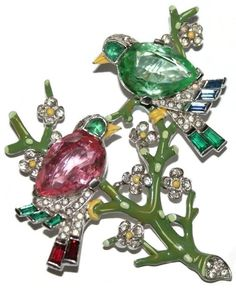 Trifari Enamel Rhinestone Two Birds On a Branch Brooch Pin 1940's  could wear for Christmas  red and green birds