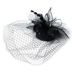 HP-8366-Black-WF, Birdcage Veils, Wedding Hair Flowers