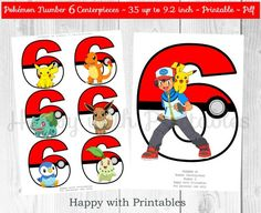 Pokemon GO Number 6 Centerpieces Pokeballs Centerpieces | Etsy Birthday Party Centerpieces, Birthday Party Tables, 6th Birthday Parties, Planner Stickers, Festa Pokemon Go, Pokemon Number, Pokemon Party Decorations, Pokemon Go Images, Pokemon Printables