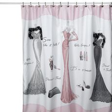 Perfect match for my retro pink bathroom  So glad I found this curtain Dressed to Thrill Shower Curtain Bed Bath Beyond Black and Paris accessories from