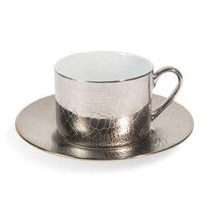 Tasse et soucoupe à thé en porcelaine argent CROCO SAUVAGE