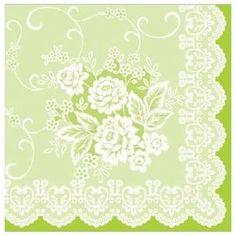 Franziska green luxusné svadobné  servítky z netkanej textílie, zelená krajka, čipka, ruže rozmer 40x40