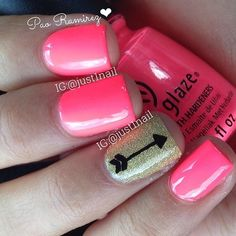 Glossed Pink Neon & Gold Glitter/Arrow Nails ➽ These are so cute for valentines day and I love the theme for it it's boho chic:) Love Nails, Pink Nails, How To Do Nails, Pretty Nails, Gel Nails, Nail Polish, Manicures, Fancy Nails, Colorful Nail Designs