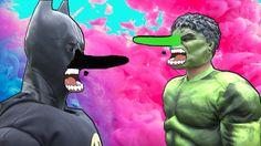 Spiderman & Elsa & Captain ! w/ Batman & Hulk Get a PINOCCHIO NOSE ! Sup...