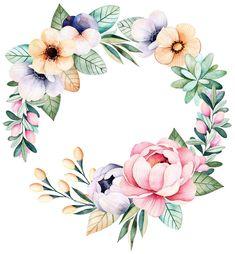 Frame Floral, Flower Frame, Flower Art, Wreath Watercolor, Watercolor Flowers, Watercolor Paintings, Botanical Illustration, Watercolor Illustration, Art Clipart