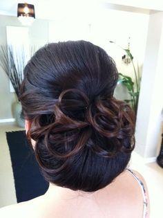 www.harpier.com.au  #bridalupstyle #curls #chignon #lowbun #weddinghair Enquire now for wedding Hair and Makeup!