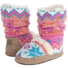 MUK LUKS Jenna Candy Coated Nordic Women's Boots, Orange ($30) ❤ liked on Polyvore featuring shoes, boots, orange, muk luks shoes, crochet shoes, orange boots, fuzzy boots and print boots