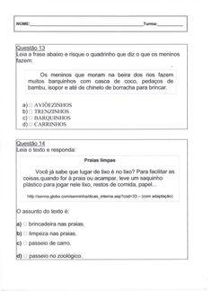 Avaliação Diagnóstica 2º Ano - Português Folha 6