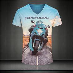 Fashion v-neck t- shirt Camisetas Ropa motorcycle race