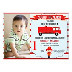 Boy Fire Engine Truck Birthday Party Invitation Invites