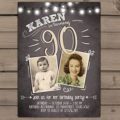 90th birthday invitation Vintage birthday invite Chalkboard adult Ninety birthday Printable birthday invitation Adult PRINTABLE ANY AGE by Anietillustration on Etsy https://www.etsy.com/listing/459870034/90th-birthday-invitation-vintage