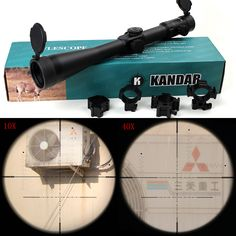 KANDAR 10-40x56 SFIR Hunting Shooting Rifle Scope Glass Etched Side Parallax R/G Illuminated Riflescope with Two Styles Rings