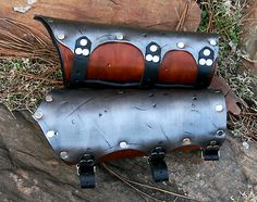 On Hand Viking Leather 2 Layer Bracers Armor SCA LARP Vembraces Medieval Armour | eBay