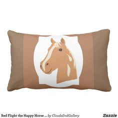 Red Flight the Happy Horse Reversible Lumbar Pillow - red gifts color style cyo diy personalize unique Custom Pillows, Decorative Pillows, Lumbar Pillow, Throw Pillows, Red Gifts, Diy Stuffed Animals, Home Gifts, Animals And Pets, Design Art