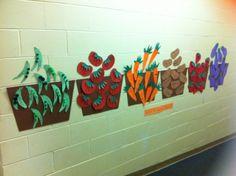 Nutrition unit - Farmers' Market - peas, tomatoes, carrots, potatoes, strawberries and eggplants. Sorting into baskets! Garden Theme Classroom, Classroom Themes, Preschool Garden, Preschool Crafts, Farm Activities, Preschool Activities, Vegetable Crafts, Art For Kids, Crafts For Kids