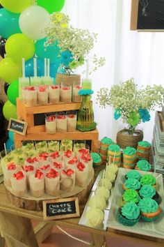 Starting school theme, rustic theme, chalkboard theme, Green and teal colour scheme. We just love setting up this Dessert Buffet. The colours are so bright and fun! Cheesecake - Cupcakes - Cakepops - Cake push pops - Mini Naked Cakes