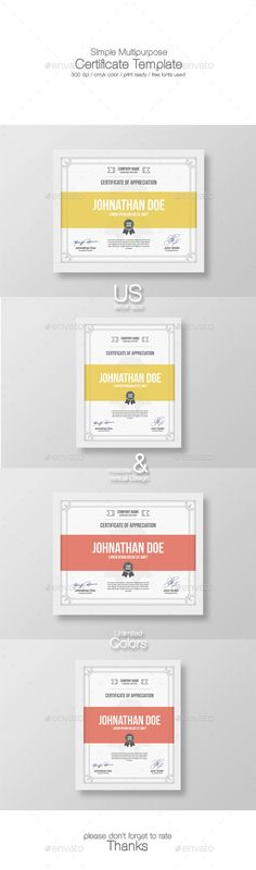 Simple Multipurpose Certificate TemplateFeatures300 DPI,CMYK Color Mode,Print Ready File,Well Customized Layered PSD File,Us Lette