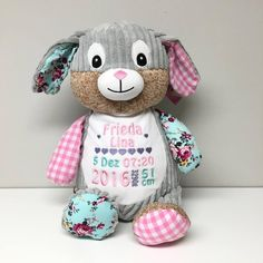 Cubby Stuffy with embroidered birth square is machine washable with a removable pod to replace with PJ's. Makes a great gift/toy/keepsake Cubbies, Minky Blanket, Burp Cloths, Christmas Stockings, Birth, Hello Kitty, Great Gifts, Embroidery, Pj