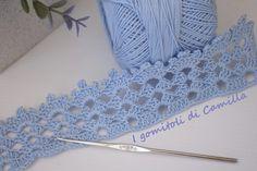 bordura a uncinetto con ventagli Crochet Lace Edging, Irish Crochet, Crochet Patterns, Camilla, Crochet Kitchen, Knitting Videos, Diy And Crafts, Crochet Necklace, Embroidery