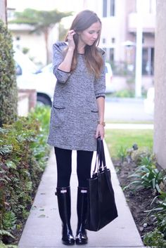 12 Ways to Style Your Rain Boots For Spring and Beyond. Pictured- with a tunic and leggings