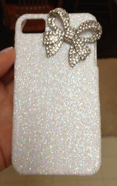 My glittery bow phone case I made today! Ahhh I love making phone cases-so much cheaper and I can totally personalize them!