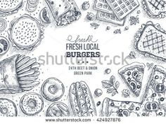 Fast food background. Linear graphic. Snack collection. Junk food. Engraved top view illustration. Vector illustration