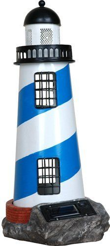 Premier Kites 84036 Solar Lighthouse, Blue/White by Premier Kites. $15.00. Hand-crafted, portable metal solar lighthouse absorbs the sun?s rays during the day and emits an attractive yellow glow at night. It makes the perfect coastal accent to your garden area. Available in blue/white color. Hand-crafted, portable metal solar lighthouse absorbs the suns rays during the day and emits an attractive yellow glow at night. Solar lighthouse is ideal for outdoor deco...
