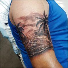 Beach Tattoo on Arm – tattoo Tropisches Tattoo, Surf Tattoo, Wild Tattoo, Head Tattoos, Life Tattoos, Tatoos, Forearm Tattoos, Tattoo Designs, Wave Tattoo Design