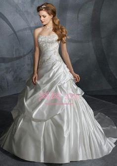 Satin Strapless A-line with Applique/Drape Chapel Train Wedding Dress (WDS010027) $298.99