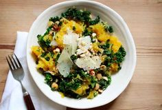 Spaghetti Squash With Kale, Hazelnuts, and Chickpeas