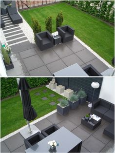 We always thought we would like square paving to fit in with the kitchen tiles but having seen a few pictures we're not so sure... Love the path to the lets of the picture though! #Moderngarden