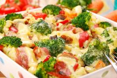 7 Easy Baked Pasta Dishes with Healthy Modifications. - because I love pasta Bacon Pasta Bake, Baked Pasta Dishes, Vegetarian Casserole, Ham Casserole, Casserole Recipes, Broccoli Casserole, Vegetarian Lunch, I Love Food, Good Food