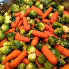 Baby Carrots And Brussels Sprouts Glazed With Brown Sugar and Pepper Recipe - Key Ingredient