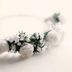 Wedding tiara, Bridal hair band, White flower crown, headpiece - PORTIA