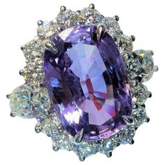 9.22 Carat Natural Violet Purple Sapphire Diamond Platinum Ring | From a unique collection of vintage cocktail rings at https://www.1stdibs.com/jewelry/rings/cocktail-rings/