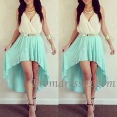 Cute high-low light green slim homecoming dress,prom dress