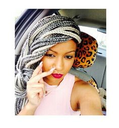 Cute grey box braids with silver/platnium dimesion