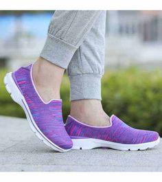 Women's #purple #SlipOn casual shoe sneakers stripe pattern, lightweight, casual, leisure, occasions