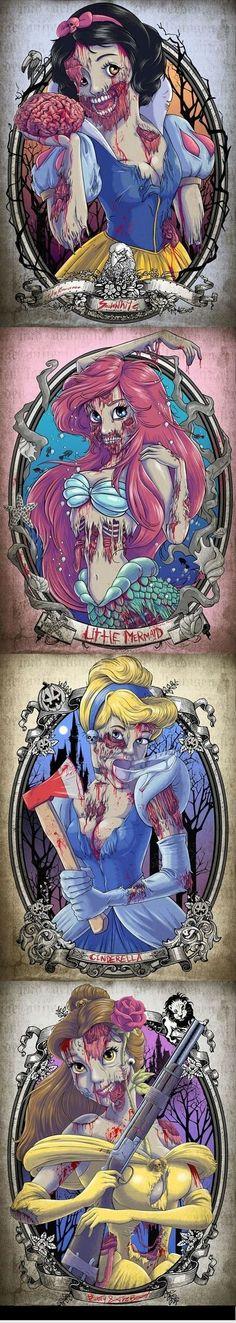 zombie disney princess tattoos | zombie disney princesses