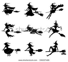 illustrations of silhouette witches flying on broomstick set - stock photo