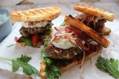 Lamb Sliders Recipe By Zama Lamb Patties, Grilled Peppers, Slider Recipes, Ciabatta, Easy Food To Make, Free Food, Feta, Crisp