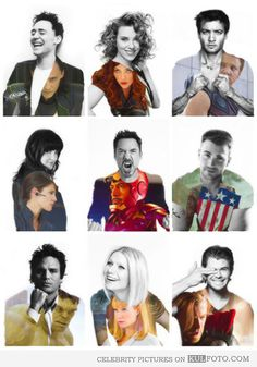 Tom Hiddleston, Scarlett Johansson, Jeremy Renner, Cobie Smulders, Robert Downey Jr., Chris Evans, Mark Ruffalo, Gwyneth Paltrow and Chris Hemsworth.