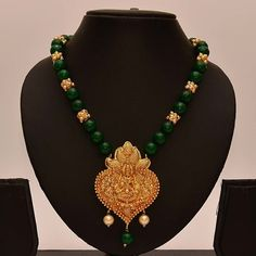 Buy Anvi\& Lakshmi (temple Jewellery) Pendent With Emeralds And Gold Beads online. Gold Jhumka Earrings, Gold Pearl Necklace, Gold Earrings Designs, Antique Necklace, Gold Jewellery Design, Bead Jewellery, Temple Jewellery, Necklace Designs, Beaded Jewelry