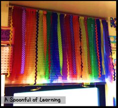 Want custom classroom curtains without  the sewing? Try these colorful ribbons! Adds a whimsical touch to any room.